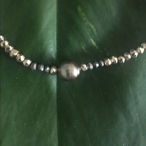 Tahitian Pearl and Pyrite Necklace